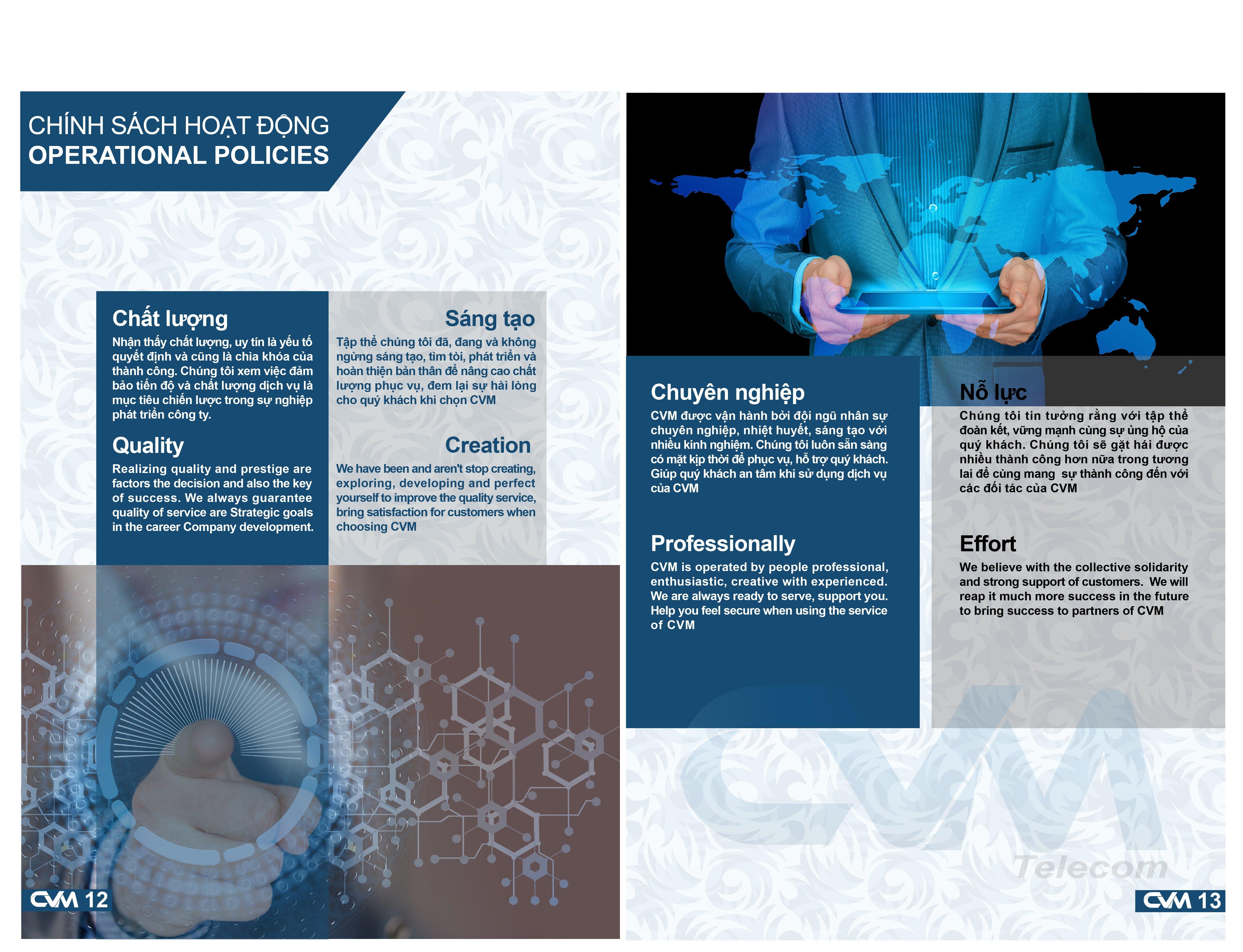 Chính sách hoạt động của CVM Telecom